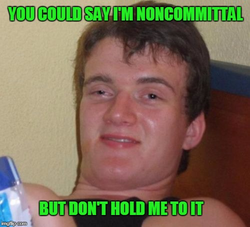 Being noncommittal starts to feel like a commitment. | YOU COULD SAY I'M NONCOMMITTAL BUT DON'T HOLD ME TO IT | image tagged in memes,10 guy | made w/ Imgflip meme maker
