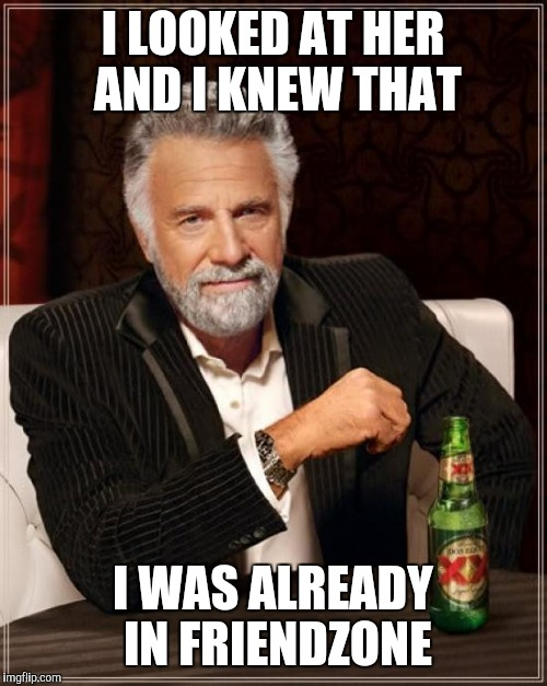 The Most Interesting Man In The World Meme | I LOOKED AT HER AND I KNEW THAT I WAS ALREADY IN FRIENDZONE | image tagged in memes,the most interesting man in the world | made w/ Imgflip meme maker