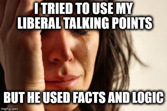 First World Problems Meme | I TRIED TO USE MY LIBERAL TALKING POINTS BUT HE USED FACTS AND LOGIC | image tagged in memes,first world problems | made w/ Imgflip meme maker