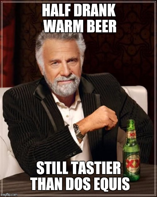 The Most Interesting Man In The World Meme | HALF DRANK WARM BEER STILL TASTIER THAN DOS EQUIS | image tagged in memes,the most interesting man in the world | made w/ Imgflip meme maker
