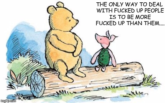 winnie the pooh and piglet | THE ONLY WAY TO DEAL WITH F**KED UP PEOPLE IS TO BE MORE F**KED UP THAN THEM.... | image tagged in winnie the pooh and piglet | made w/ Imgflip meme maker