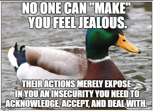 "Actual Advice Mallard Meme | NO ONE CAN ""MAKE"" YOU FEEL JEALOUS. THEIR ACTIONS MERELY EXPOSE IN YOU AN INSECURITY YOU NEED TO ACKNOWLEDGE, ACCEPT, AND DEAL WITH. 