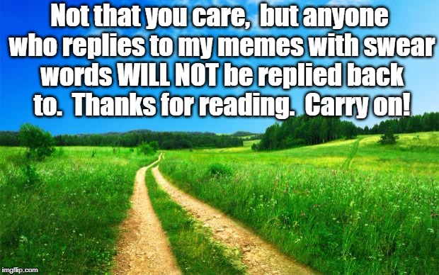 Hugs for everyone! | Not that you care,  but anyone who replies to my memes with swear words WILL NOT be replied back to.  Thanks for reading.  Carry on! | image tagged in scenery1 | made w/ Imgflip meme maker