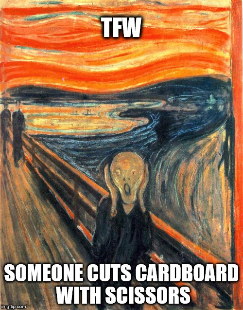 Art Teacher's Nightmare | TFW SOMEONE CUTS CARDBOARD WITH SCISSORS | image tagged in scissors,munch,scream,cutting | made w/ Imgflip meme maker