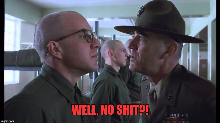 full metal jacket | WELL, NO SHIT?! | image tagged in full metal jacket | made w/ Imgflip meme maker