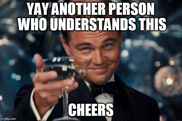 Leonardo Dicaprio Cheers Meme | YAY ANOTHER PERSON WHO UNDERSTANDS THIS CHEERS | image tagged in memes,leonardo dicaprio cheers | made w/ Imgflip meme maker