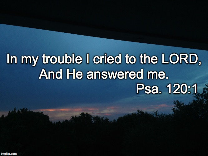 In my trouble I cried to the LORD, And He answered me. Psa. 120:1 | image tagged in he answered me | made w/ Imgflip meme maker