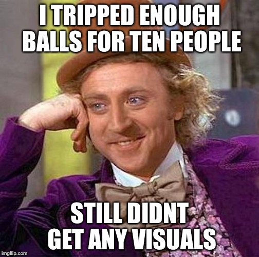 Creepy Condescending Wonka Meme | I TRIPPED ENOUGH BALLS FOR TEN PEOPLE STILL DIDNT GET ANY VISUALS | image tagged in memes,creepy condescending wonka | made w/ Imgflip meme maker