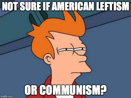 Futurama Fry Meme | NOT SURE IF AMERICAN LEFTISM OR COMMUNISM? | image tagged in memes,futurama fry | made w/ Imgflip meme maker