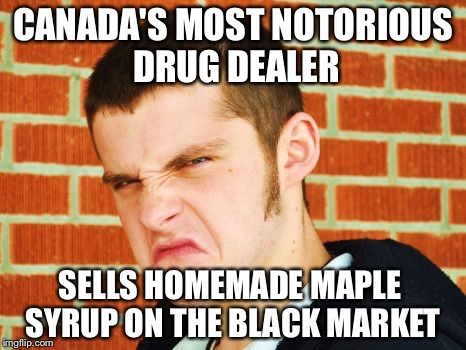 CANADA'S MOST NOTORIOUS DRUG DEALER SELLS HOMEMADE MAPLE SYRUP ON THE BLACK MARKET | image tagged in canadian thug | made w/ Imgflip meme maker