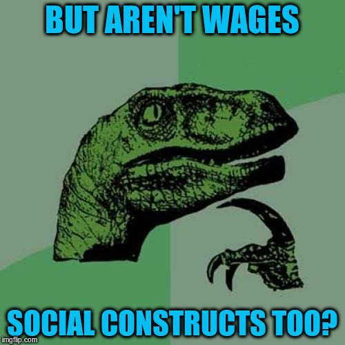 Philosoraptor Meme | BUT AREN'T WAGES SOCIAL CONSTRUCTS TOO? | image tagged in memes,philosoraptor | made w/ Imgflip meme maker