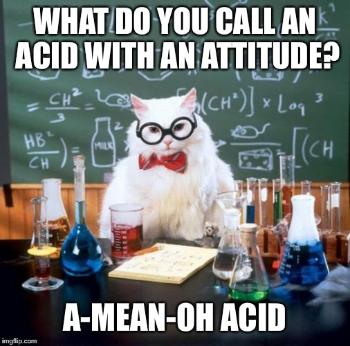 Chemistry Cat Meme | WHAT DO YOU CALL AN ACID WITH AN ATTITUDE? A-MEAN-OH ACID | image tagged in memes,chemistry cat | made w/ Imgflip meme maker