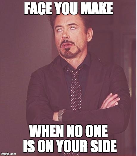 Face You Make Robert Downey Jr Meme | FACE YOU MAKE WHEN NO ONE IS ON YOUR SIDE | image tagged in memes,face you make robert downey jr | made w/ Imgflip meme maker