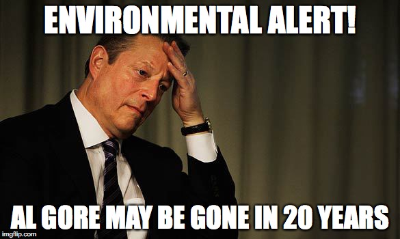 Al Gore Facepalm | ENVIRONMENTAL ALERT! AL GORE MAY BE GONE IN 20 YEARS | image tagged in al gore facepalm,environmental | made w/ Imgflip meme maker