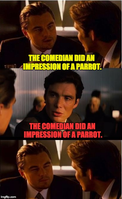 Did you just parrot that back to me? | THE COMEDIAN DID AN IMPRESSION OF A PARROT. THE COMEDIAN DID AN IMPRESSION OF A PARROT. | image tagged in memes,inception | made w/ Imgflip meme maker