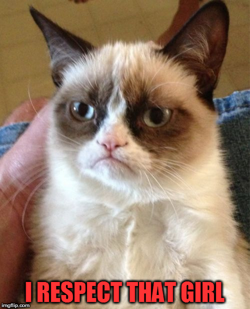 Grumpy Cat Meme | I RESPECT THAT GIRL | image tagged in memes,grumpy cat | made w/ Imgflip meme maker