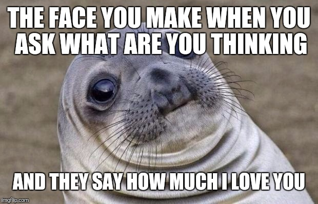 Awkward Moment Sealion Meme | THE FACE YOU MAKE WHEN YOU ASK WHAT ARE YOU THINKING AND THEY SAY HOW MUCH I LOVE YOU | image tagged in memes,awkward moment sealion | made w/ Imgflip meme maker