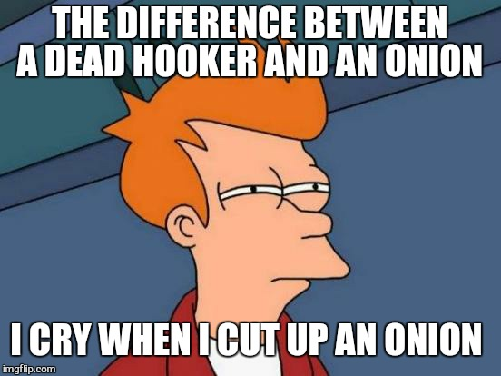 Futurama Fry Meme | THE DIFFERENCE BETWEEN A DEAD HOOKER AND AN ONION I CRY WHEN I CUT UP AN ONION | image tagged in memes,futurama fry | made w/ Imgflip meme maker