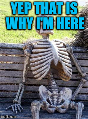 Waiting Skeleton Meme | YEP THAT IS WHY I'M HERE | image tagged in memes,waiting skeleton | made w/ Imgflip meme maker