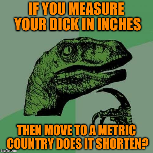 Philosoraptor Meme | IF YOU MEASURE YOUR DICK IN INCHES THEN MOVE TO A METRIC COUNTRY DOES IT SHORTEN? | image tagged in memes,philosoraptor | made w/ Imgflip meme maker