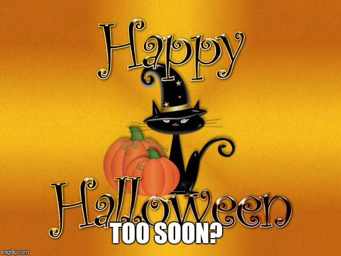 Too soon Halloween | TOO SOON? | image tagged in halloween,too soon,cute,witch,witches | made w/ Imgflip meme maker