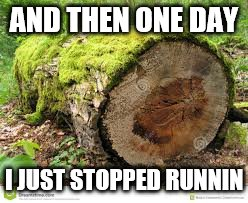 AND THEN ONE DAY I JUST STOPPED RUNNIN | made w/ Imgflip meme maker