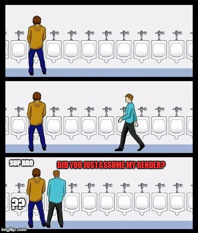 Urinal Guy | SUP BRO DID YOU JUST ASSUME MY GENDER? ?? | image tagged in urinal guy | made w/ Imgflip meme maker