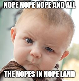 Skeptical Baby Meme | NOPE NOPE NOPE AND ALL THE NOPES IN NOPE LAND | image tagged in memes,skeptical baby | made w/ Imgflip meme maker