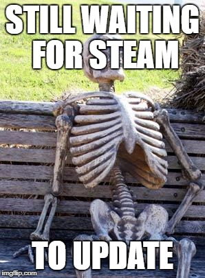 Waiting Skeleton Meme | STILL WAITING FOR STEAM TO UPDATE | image tagged in memes,waiting skeleton | made w/ Imgflip meme maker