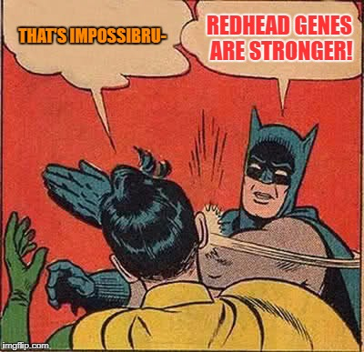 Batman Slapping Robin Meme | THAT'S IMPOSSIBRU- REDHEAD GENES ARE STRONGER! | image tagged in memes,batman slapping robin | made w/ Imgflip meme maker