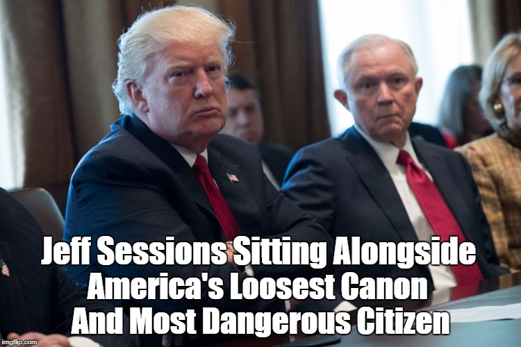 Jeff Sessions Sitting Alongside America's Loosest Canon And Most Dangerous Citizen | made w/ Imgflip meme maker