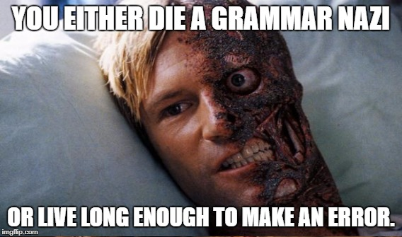 YOU EITHER DIE A GRAMMAR NAZI OR LIVE LONG ENOUGH TO MAKE AN ERROR. | made w/ Imgflip meme maker