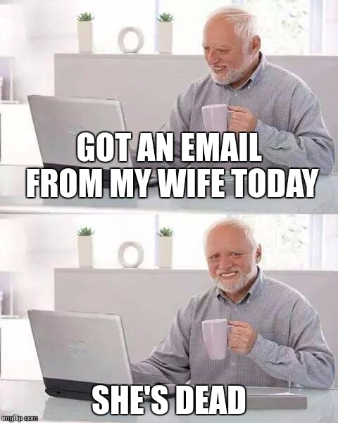 That One Email – Embracing Spam | GOT AN EMAIL FROM MY WIFE TODAY SHE'S DEAD | image tagged in memes,hide the pain harold,funny,spam,email | made w/ Imgflip meme maker