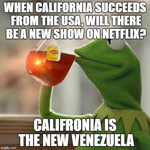 But Thats None Of My Business Meme | WHEN CALIFORNIA SUCCEEDS FROM THE USA, WILL THERE BE A NEW SHOW ON NETFLIX? CALIFRONIA IS THE NEW VENEZUELA | image tagged in memes,but thats none of my business,kermit the frog | made w/ Imgflip meme maker