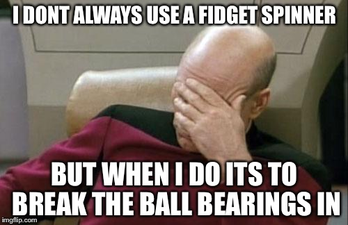 Captain Picard Facepalm Meme | I DONT ALWAYS USE A FIDGET SPINNER BUT WHEN I DO ITS TO BREAK THE BALL BEARINGS IN | image tagged in memes,captain picard facepalm | made w/ Imgflip meme maker