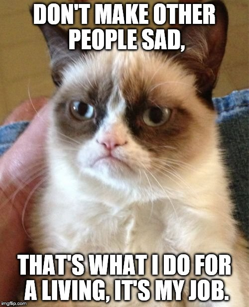 Grumpy Cat Meme | DON'T MAKE OTHER PEOPLE SAD, THAT'S WHAT I DO FOR A LIVING, IT'S MY JOB. | image tagged in memes,grumpy cat | made w/ Imgflip meme maker