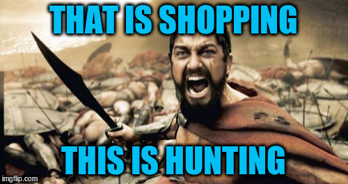 Sparta Leonidas Meme | THAT IS SHOPPING THIS IS HUNTING | image tagged in memes,sparta leonidas | made w/ Imgflip meme maker