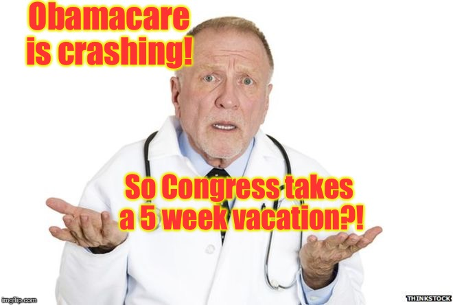 Remember this at the 2018 elections | Obamacare is crashing! So Congress takes a 5 week vacation?! | image tagged in memes,obamacare,congress,vacation,vote,2018 election | made w/ Imgflip meme maker