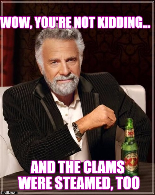 The Most Interesting Man In The World Meme | WOW, YOU'RE NOT KIDDING... AND THE CLAMS WERE STEAMED, TOO | image tagged in memes,the most interesting man in the world | made w/ Imgflip meme maker