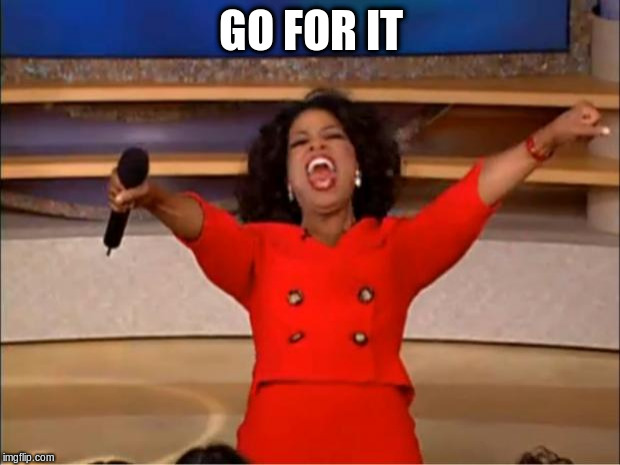 Oprah You Get A Meme | GO FOR IT | image tagged in memes,oprah you get a | made w/ Imgflip meme maker