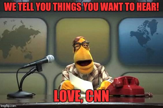 Reporters | WE TELL YOU THINGS YOU WANT TO HEAR! LOVE, CNN | image tagged in muppet news flash,memes,funny,funny memes,dank memes | made w/ Imgflip meme maker