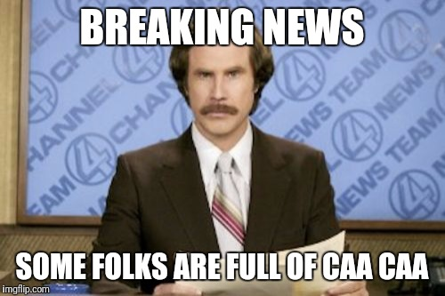 Ron Burgundy Meme | BREAKING NEWS SOME FOLKS ARE FULL OF CAA CAA | image tagged in memes,ron burgundy | made w/ Imgflip meme maker