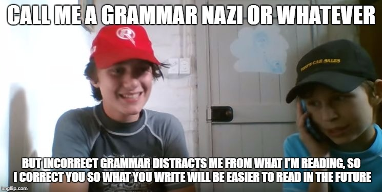 Final tribute to Grammar Nazi week - a Chopsticks36 event 31 July - 7 August | CALL ME A GRAMMAR NAZI OR WHATEVER BUT INCORRECT GRAMMAR DISTRACTS ME FROM WHAT I'M READING, SO I CORRECT YOU SO WHAT YOU WRITE WILL BE EASI | image tagged in memes,skits bits and nits,grammar nazi,dank memes,grammar nazi week,funny | made w/ Imgflip meme maker