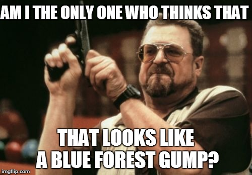 Am I The Only One Around Here Meme | AM I THE ONLY ONE WHO THINKS THAT THAT LOOKS LIKE A BLUE FOREST GUMP? | image tagged in memes,am i the only one around here | made w/ Imgflip meme maker