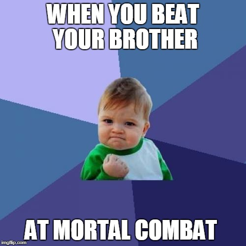 Success Kid Meme | WHEN YOU BEAT YOUR BROTHER AT MORTAL COMBAT | image tagged in memes,success kid | made w/ Imgflip meme maker