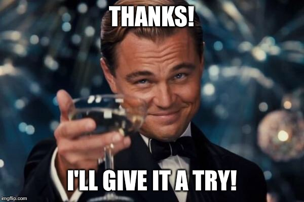 Leonardo Dicaprio Cheers Meme | THANKS! I'LL GIVE IT A TRY! | image tagged in memes,leonardo dicaprio cheers | made w/ Imgflip meme maker