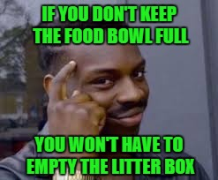 IF YOU DON'T KEEP THE FOOD BOWL FULL YOU WON'T HAVE TO EMPTY THE LITTER BOX | made w/ Imgflip meme maker