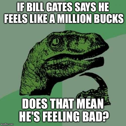 Like a million bucks | IF BILL GATES SAYS HE FEELS LIKE A MILLION BUCKS DOES THAT MEAN HE'S FEELING BAD? | image tagged in memes,philosoraptor,bill gates,money,puns | made w/ Imgflip meme maker