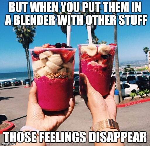 BUT WHEN YOU PUT THEM IN A BLENDER WITH OTHER STUFF THOSE FEELINGS DISAPPEAR | made w/ Imgflip meme maker