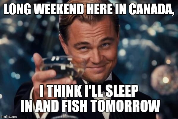 Leonardo Dicaprio Cheers Meme | LONG WEEKEND HERE IN CANADA, I THINK I'LL SLEEP IN AND FISH TOMORROW | image tagged in memes,leonardo dicaprio cheers | made w/ Imgflip meme maker